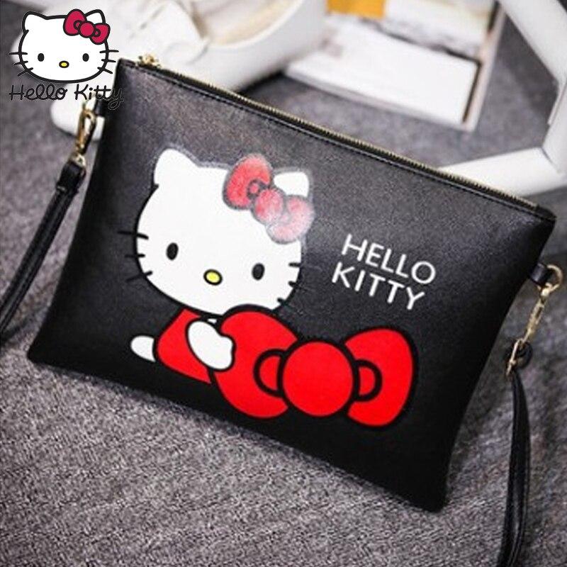 Hello Kitty Women Messenger Bags 2019 Fashion Mini Leather Handbag Cartoon Envelope HandBag Bolsas Plush Backpack Feminina Stuff