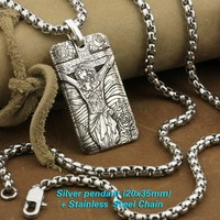 LINSION 999 Sterling Silver High Details Deep Laser Engraved Jesus Crucifix Cross Pendant Mens Biker Rock