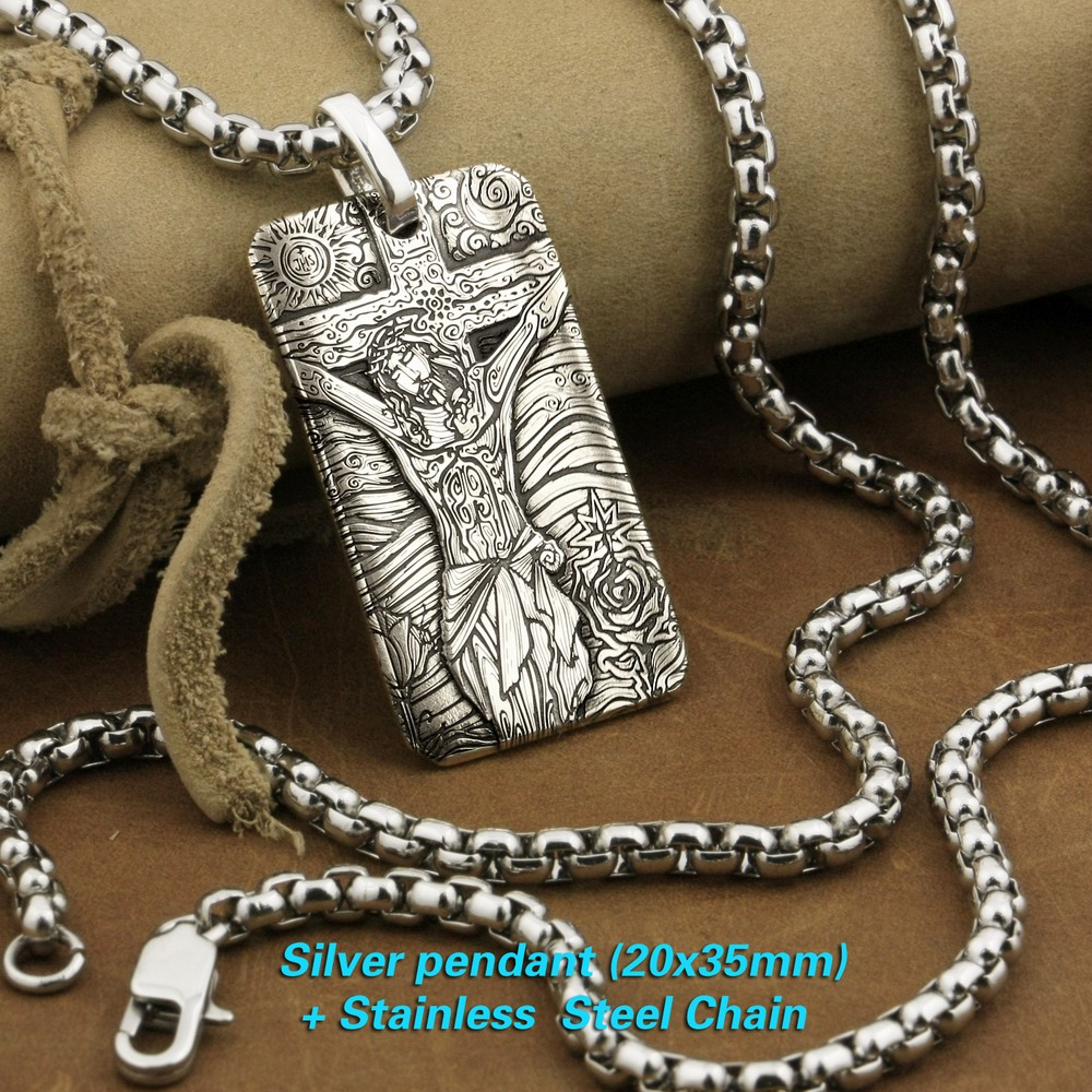 LINSION 999 Sterling Silver High Details Deep Laser Engraved Jesus Crucifix Cross Pendant Mens Biker Rock Punk Pendant 9X037S