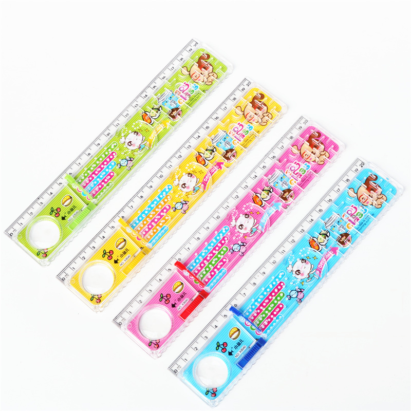 1PC 4 Ball Maze Ruler 20cm Plastic Straight Ruler Wavy Stripe Painting Straight Line Measurement Kids Gift