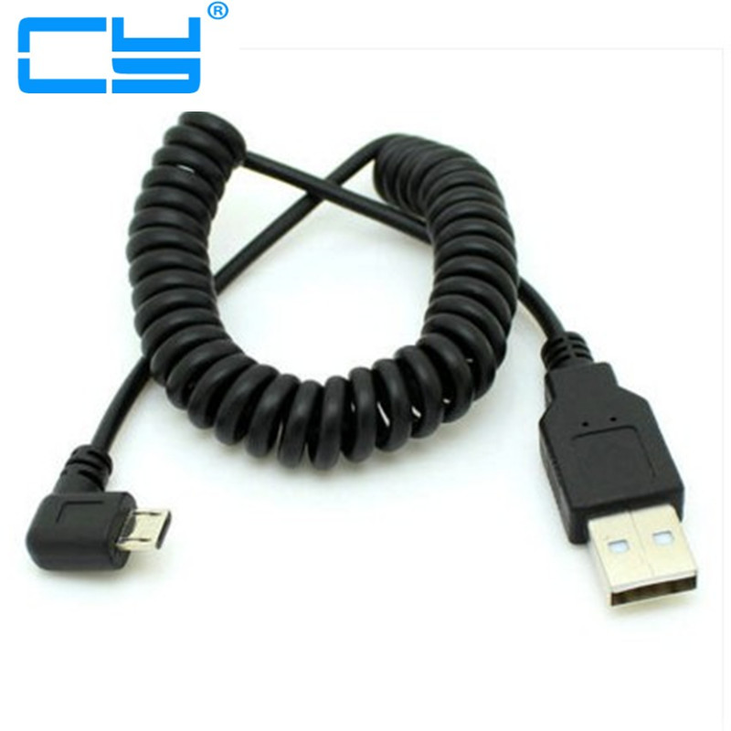 90 degree left elbow Spring Coiled USB 2.0 Male to Micro USB Data Sync fast Charger 2A Cable for Android mobile phones retractable micro usb kabel charge usb to micro usb spring stretch cable data sync charger cord coiled cabo