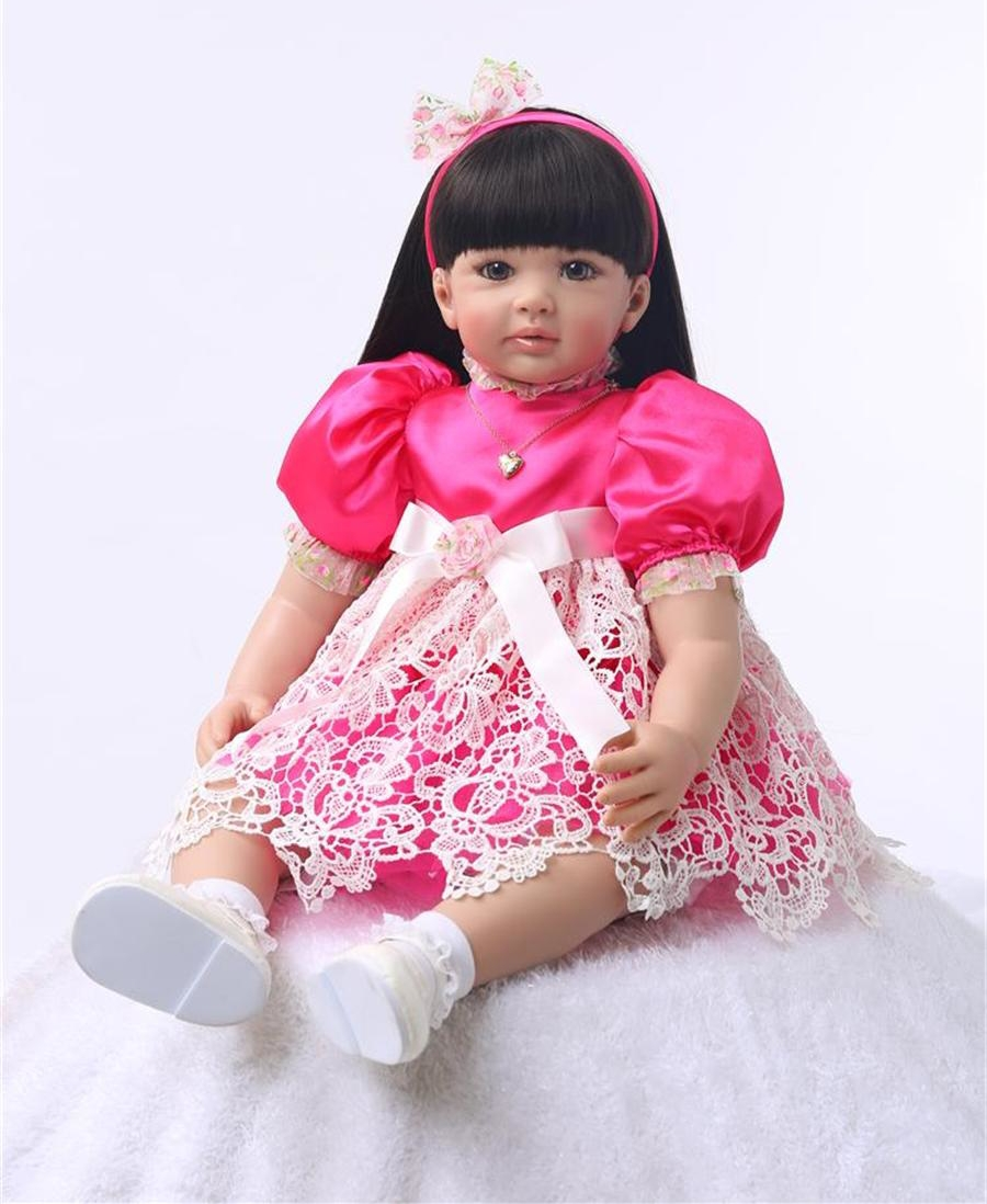 "Pursue 24""/60 cm Black Hair Baby Alive Silicone Reborn Toddler Princess Girl Baby Doll Toys for Children Girls House Play Dolls"