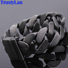 24MM Wide Friendship Mens Bracelets 2020 Heavy Black Stainless Steel Man Bracelet Men With Belt Buckle Chain Link Metal Jewelry