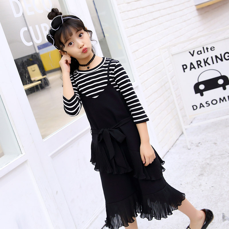 Children's Garment Autumn New Pattern Girl Stripe Dress Suit Child Seven Part Sleeve T-shirts Suit 2 Pieces Kids Clothing autumn new pattern girl range child street wind cowboy salopettes cartoon t shirts suit 2 pieces kids clothing