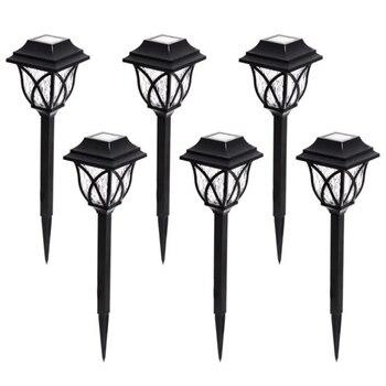 6 sztuk łatwa instalacja LED żarówka ogród dekoracje czarne zasilany energią słoneczną ścieżka światło krajobrazu na zewnątrz stoczni lampa trawnikowa wodoodporna