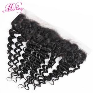 Image 2 - MS Love Deep Wave ด้านหน้าลูกไม้ 13x4 ปิดผมมนุษย์บราซิล Remy Hair Extension