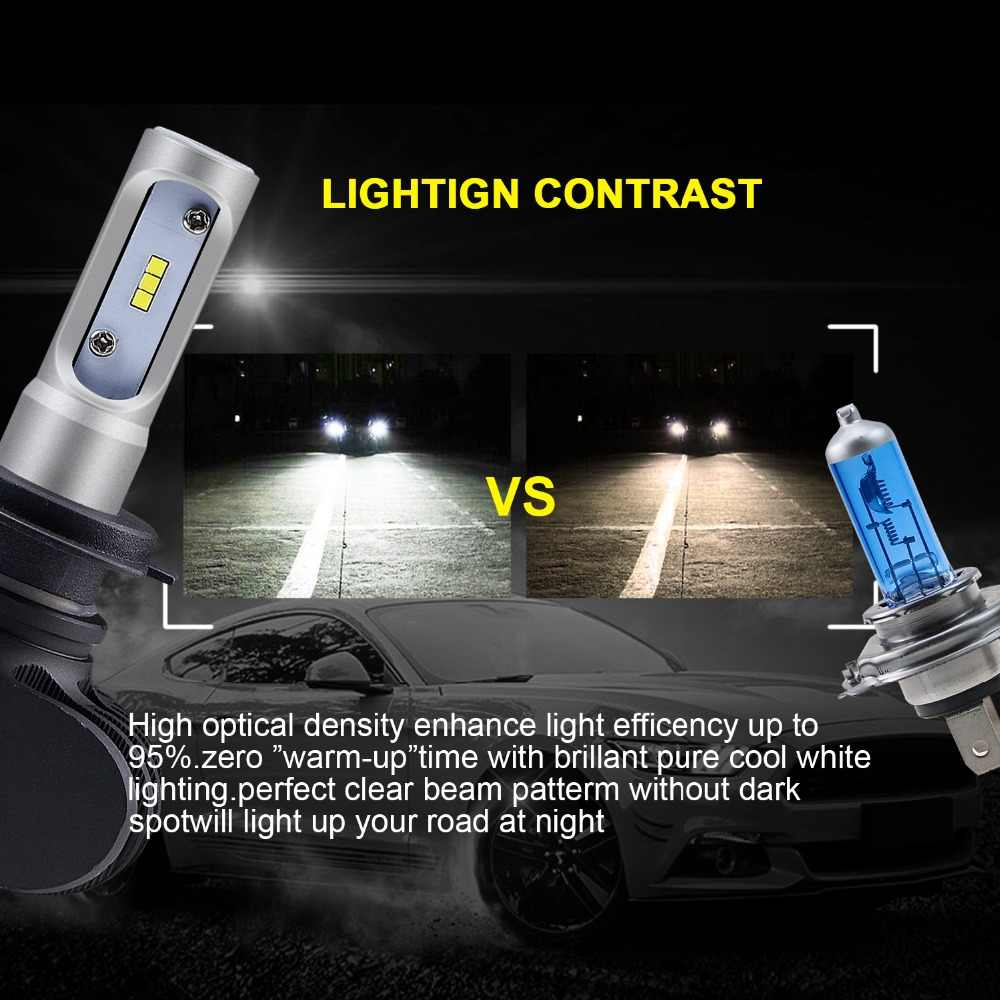 CARLITS H4 H7 LED Car Headlights H1 H3 H8 H9 H11 9005 9006 9007 9008 HB5 HB3 HB4 HB2 For Auto Led Light Bulb 12V 50W 6500K 2pcs