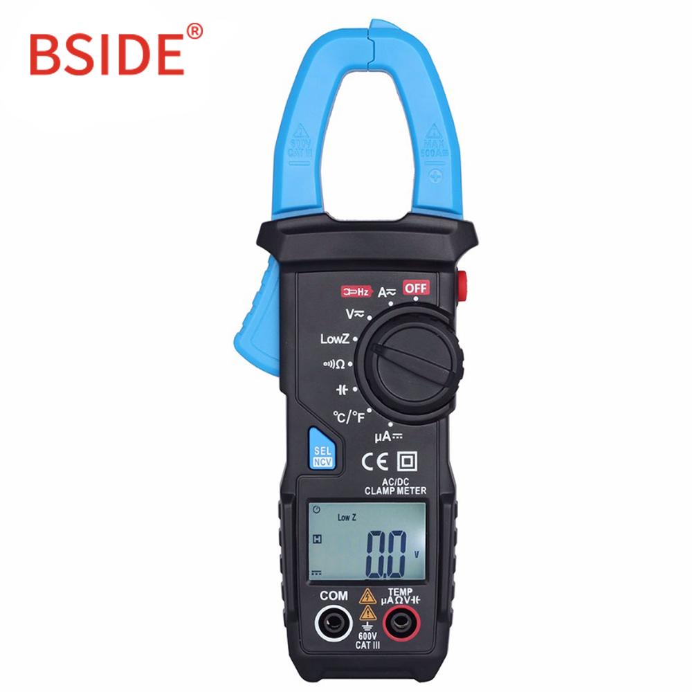 BSIDE DC/AC 600A Digital Clamp Meter 6000 Counts Auto Range Resistance Capacitance Frequency Temperature NCV MultimeterBSIDE DC/AC 600A Digital Clamp Meter 6000 Counts Auto Range Resistance Capacitance Frequency Temperature NCV Multimeter