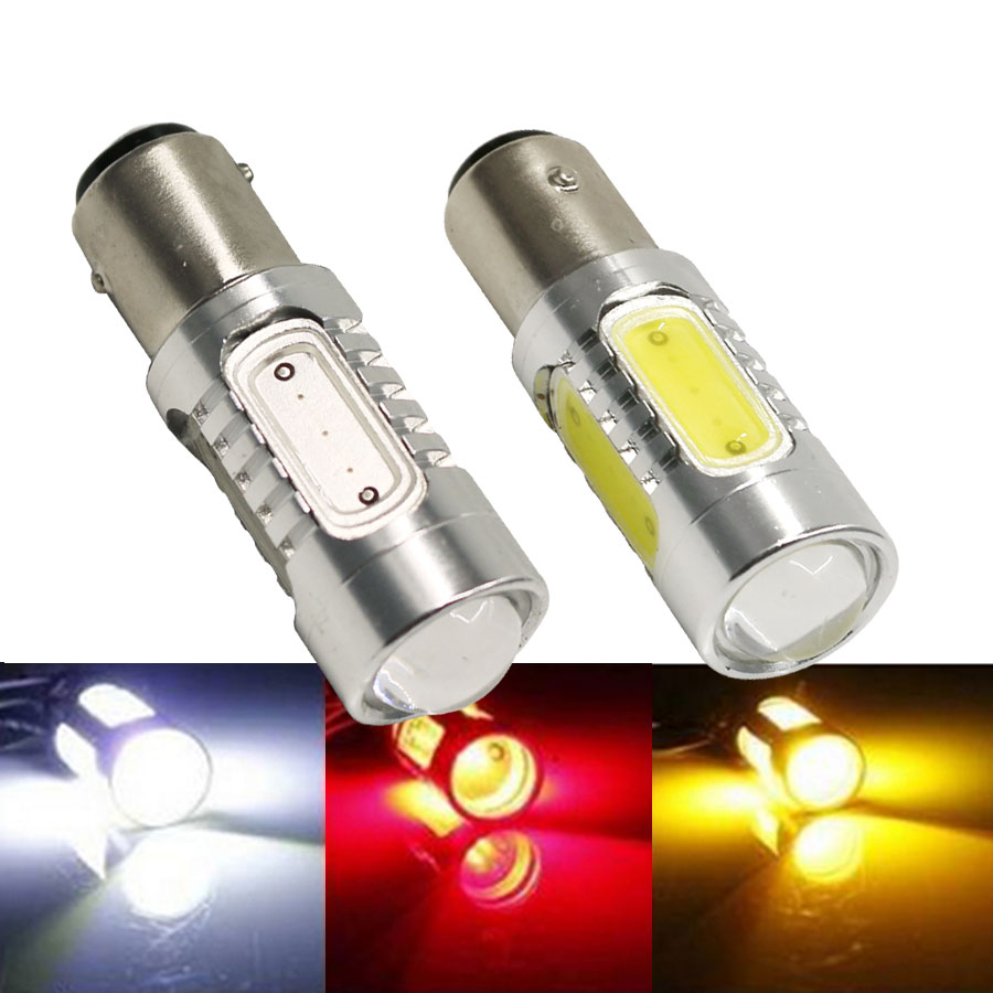 1X 1157 BAY15D P21/5W 7.5W DC12V COB Light High Power Auto Tail Reverse Backup Car White Red Led bulb Brake Lights Free Shipping