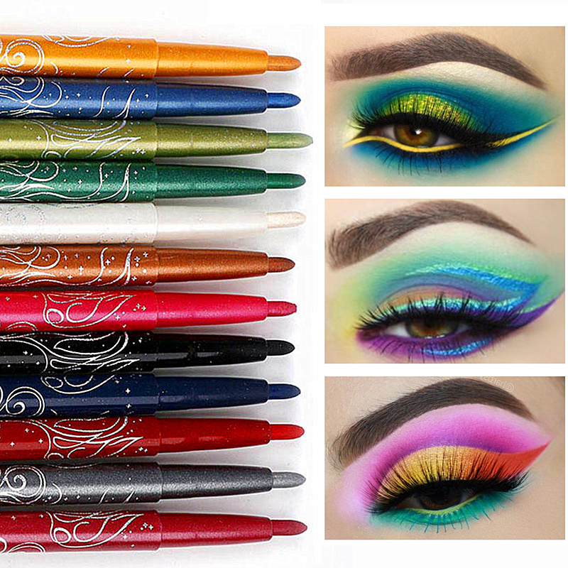 Wholesale 120 Pcs/lot 12 Color Long Lasting Eye Liner Eye Shadow Auto-rotate Waterproof Eyeliner Pencil Eye Makeup Cosmetic цены