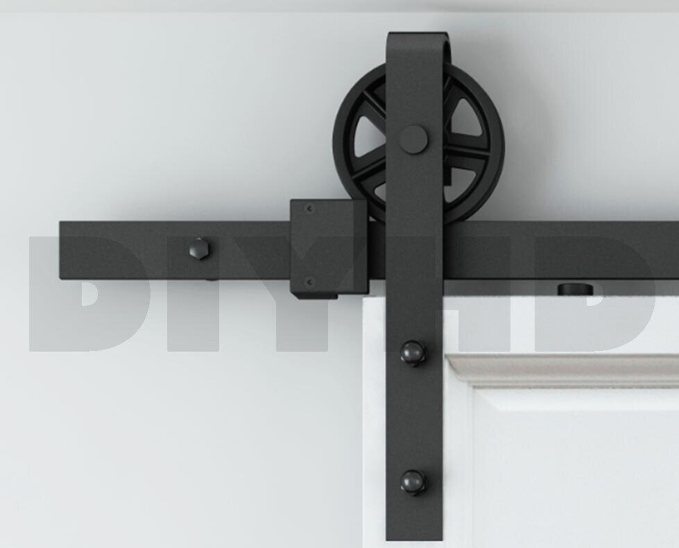5FT/6FT/8FT/10FT Vintage Style Strap Industrial Wheel Sliding Barn Wood Door Hardware Track Kit