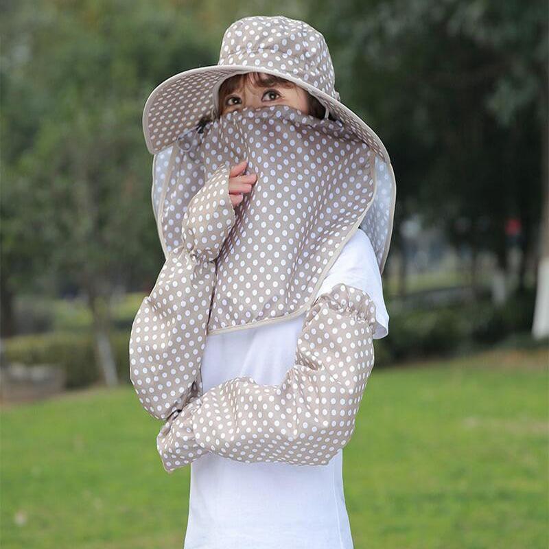 Cotton Dot Big Eaves Women Foldable Covered Face k Cycling Anti Uv Sun Hat