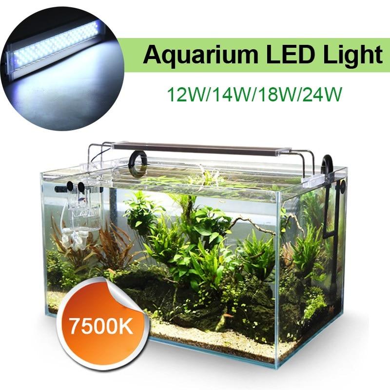 12W/14W/24W LED Light 220V Aquarium LED Fish Tank Lights Lamp Energy Saving Pure White LED Lighting Decoration  For Aquarium