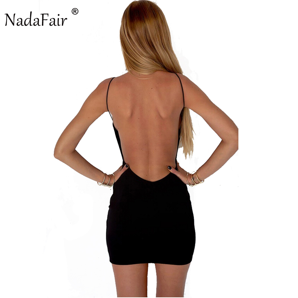 Nadafair 95% Cotton Spaghetti Strap Svart Sexig Klubb Backless Bodycon Klänning Kvinnor Sommar Beach Casual Mini Dress