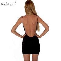 Nadafair 100 Cotton Spaghetti Strap Black Sexy Club Backless Bodycon Dress Women Summer Beach Casual Mini