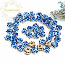 3mm 4mm 5mm 6mm 7mm 8mm Sapphire blue Diamond shape Glass Crystal rhinestones with gold claw Diy wedding dress accessories