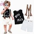 Los niños Traje de Moda de la camiseta + Bib overoles Set de 2 unidades alfabeto letra T camisa de Los Niños ropa para niños pantalones cortos de la correa set Envío nave
