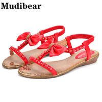 Mudibear Casual Women Sandals Flat Butterfly Knot String Bead Summer Shoes Red Heart Pattem Bordered Slip