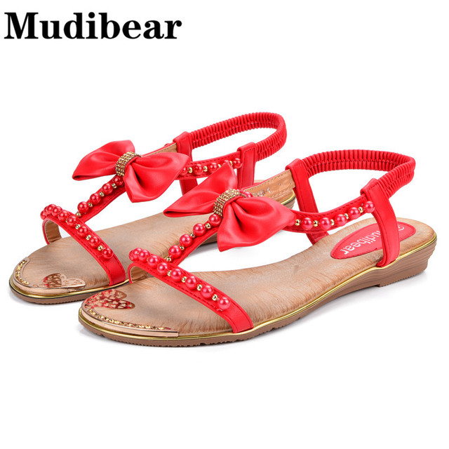 65e5c1d40 Mudibear Casual Women Sandals Flat Butterfly Knot String Bead Summer Shoes  Red Heart Pattem Bordered Slip On Shoes Woman