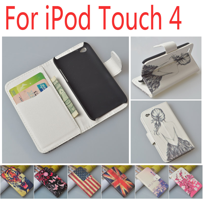 JR Cases For Apple iPod Touch 4 Magnetic Flip PU Leather Case For Apple iPod Touch 4 Cover with card holder