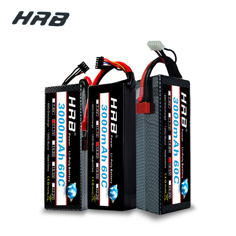 HRB 3000mAh Lipo 2S 7.4V 3S 11.1V 4S 14.8V 5S Battery 18.5V 60C 120C XT60 Hard Case For RC Car Quadcopter Helicopter Airplane image