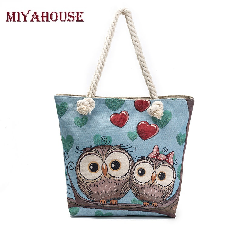 Miyahouse Female Beach Bag Floral And Owl Printed Canvas Tote Women Casual Shoulder Bag For Lady Single Shopping Handbags cartoon printed casual tote fashion women canvas beach bag female canvas handbag daily use single shoulder shopping bags