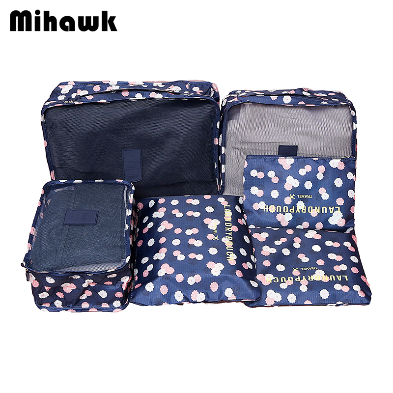 Mihawk 6Pcs/set Portable Packing Cube Travel Bags Women Clothes Cosmetic Sorting Storage Pouch Organizer luggage Accessories clothes vacuum packing clothes storage bags