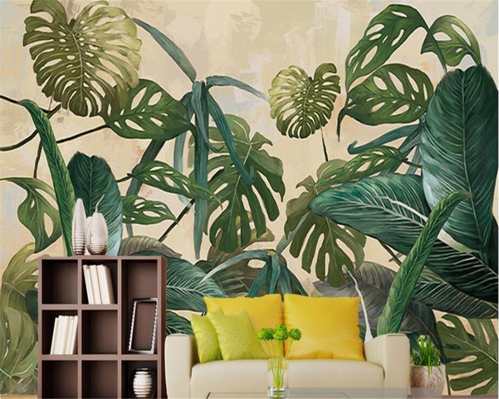 beibehang photo murale papier peint r tro for t tropicale palm feuille de bananier salon tv mur. Black Bedroom Furniture Sets. Home Design Ideas
