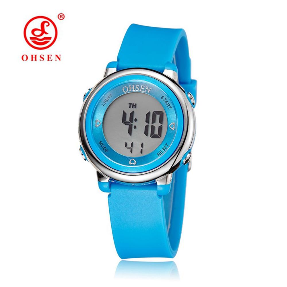 Prix pour 2016 OHSEN Marque Numérique LCD Enfants Filles De Mode Montre-Bracelet Mignon Fille Bracelet En Caoutchouc 50 M Étanche Enfant Montres Alarme Main horloges
