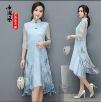 Freeshiping 2017 New Chinese style Cheongsam dress Leisure Vietnam womens dress