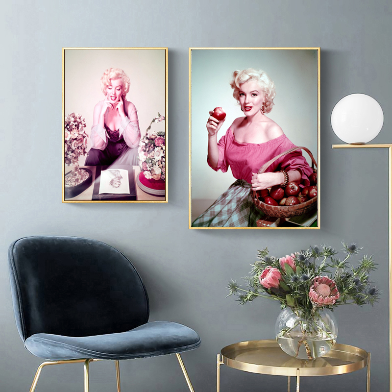 US $8.8 88% OFFMarilyn Monroe Eating An Apple Color Poster Canvas  Painting Print Living Room Home Decor Modern Wall Art Oil Painting