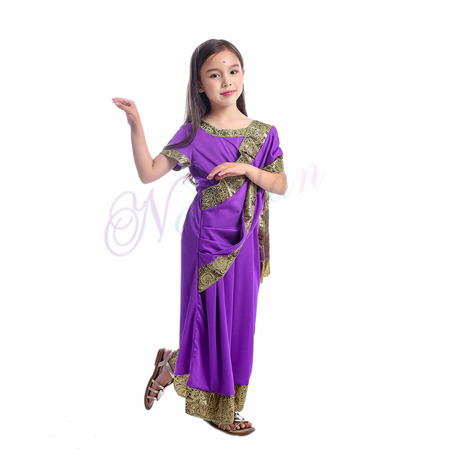 Indian Saree Party India Sari Dress Bollywood Girls Traditional Indian Clothes For Kids Children 3