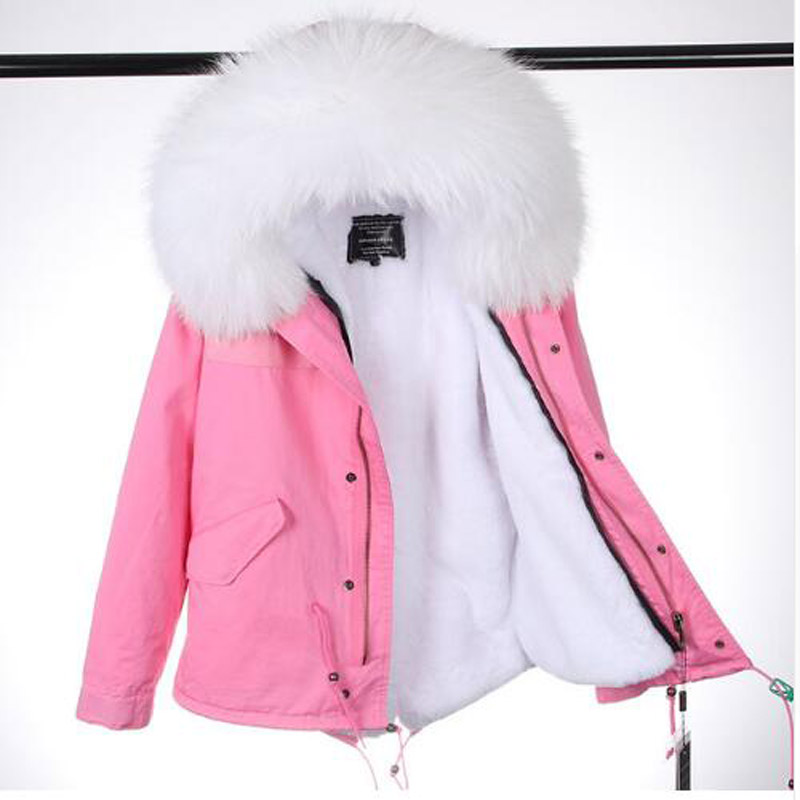 Real Raccoon Fur Collar Parka Coat with Fur Women Winter Jacket Natural Fur Hood Parka Detachable Warm Faux Fur Liner Parkas faux rabbit fur brown mr short jacket sleeveless with big raccoon collar fall coat