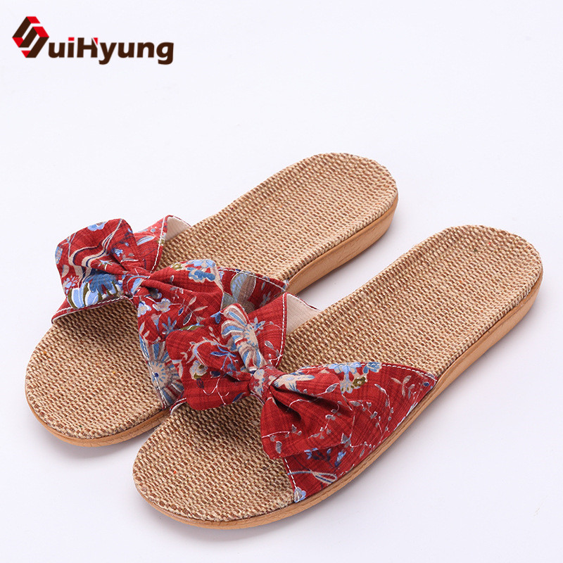 Suihyung New Summer Womens Linen Slippers Flowers Bowknot Female Non-slip Beach Slippers Flip Flops Sandals Bathroom SlippersSuihyung New Summer Womens Linen Slippers Flowers Bowknot Female Non-slip Beach Slippers Flip Flops Sandals Bathroom Slippers