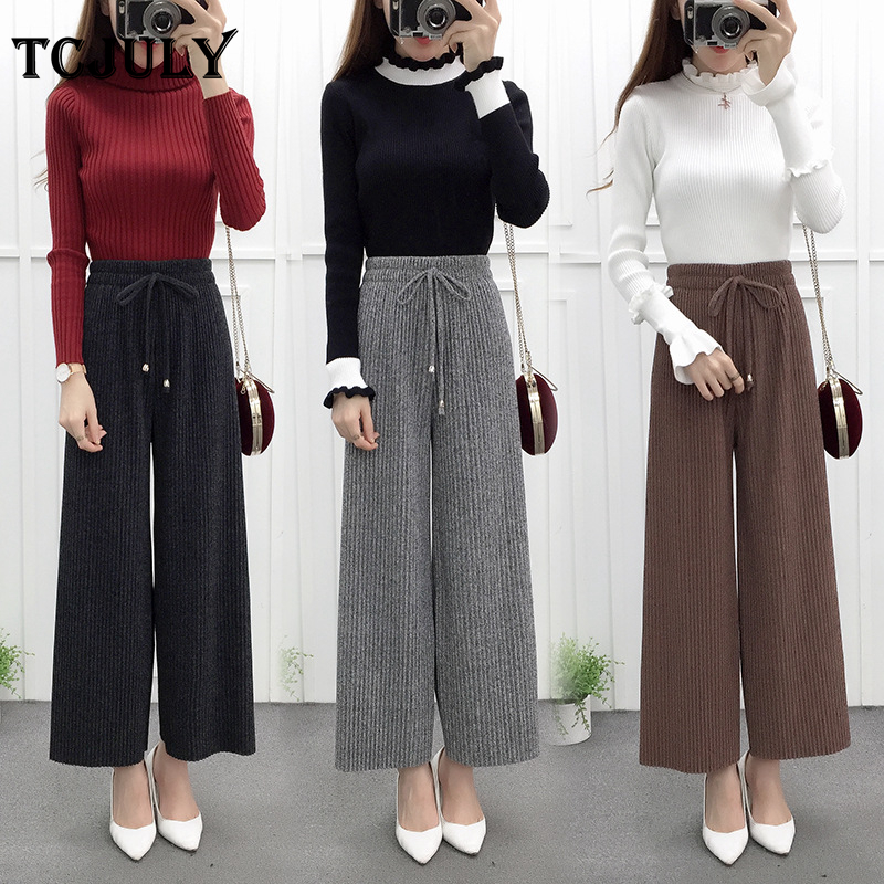 TCJULY New Korean Style Wollen Fabric Women's Trousers In Large Sizes Solid Pleated Loose Casual   Wide     Leg     Pants   Ties Up Trousers