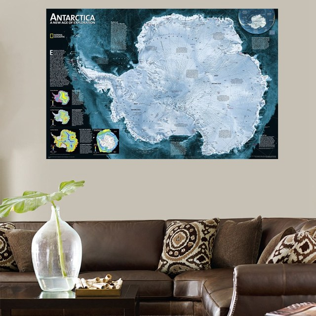 Merveilleux HD Print Antarctica Map For Office Decorations Wall Art Canvas Painting Best  Gifts Artwork Modern Home