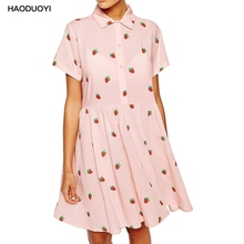 Haoduoyi 2017 New Summer Strawberry Print Casual Dresses Women POLO Collar Beach Boho Dress Sheer Mini Dress Plus Size Vestidos