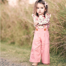 Girls Outfits Toddler Baby Girls Long Sleeve Floral Tops+Solid Overalls Pants Clothes Outfits Sets
