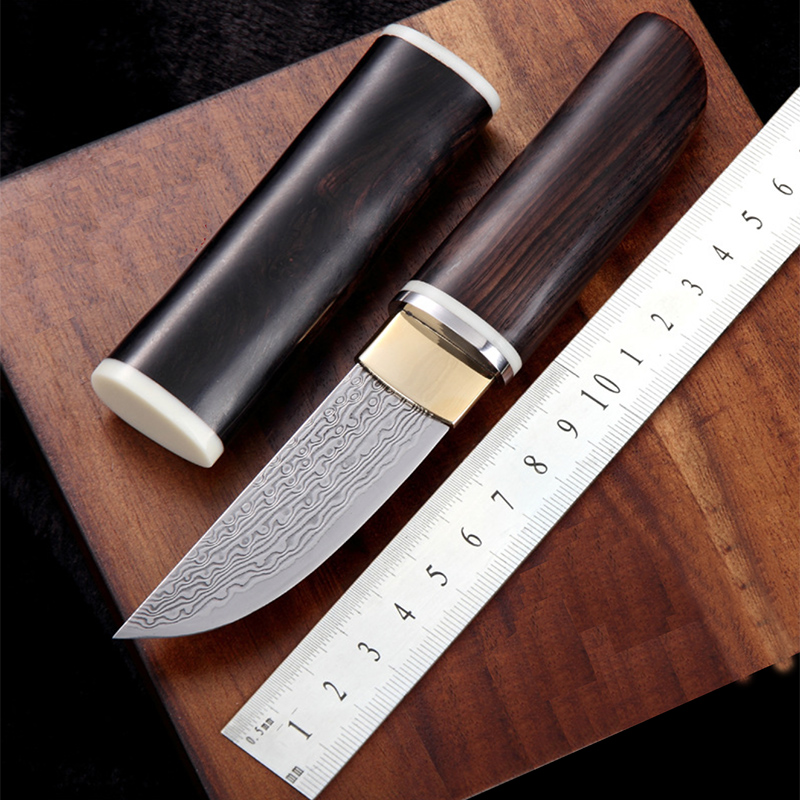 Free shipping Handmade  Damascus steel Hunting Knife Camping Survival Knife Fixed Blade Tactical Knife  black wood handleFree shipping Handmade  Damascus steel Hunting Knife Camping Survival Knife Fixed Blade Tactical Knife  black wood handle
