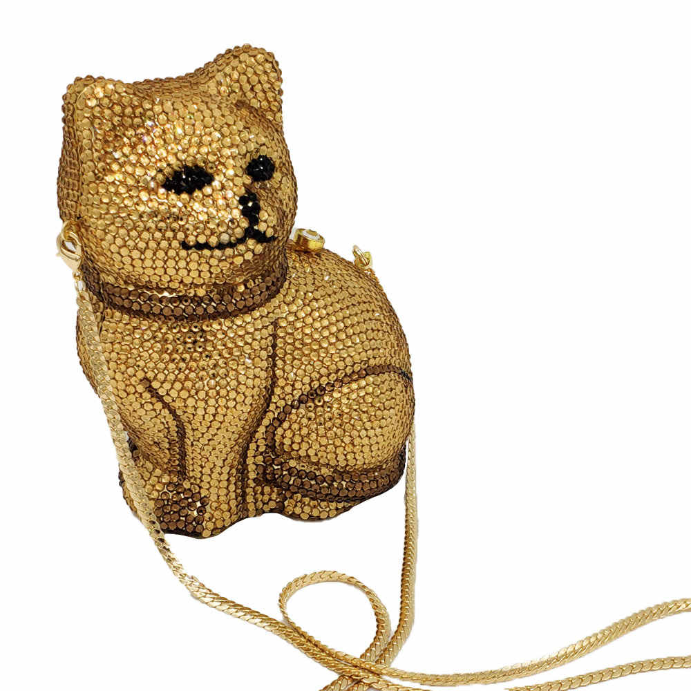 Бутик De FGG Прекрасный 3D кошка для женщин Золотой Кристалл Minaudiere клатч животных вечерние сумочки женские формальный ужин сумочка и кошелек
