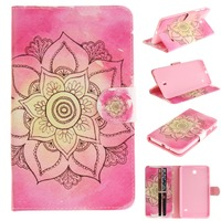 Kid Cases for Samsung Galaxy Tab 4 7.0 T230 T235 Pink Floral Flip Folio PU Leather Case Cover Conque Capa with Card Slot