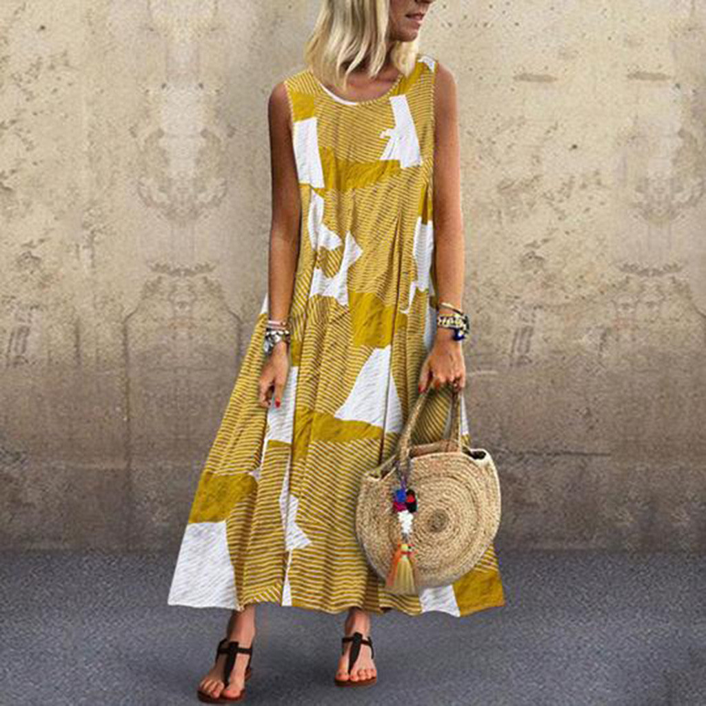Fashsiualy women's summer sundress Vintage Boho Dress O-Neck Sleeveless Sundress Lady Print Long Dress Beach Holiday vestido