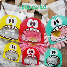100pcs 7cm&10cm Opp Cute Small Monster Sharp Teeth Baking Christmas Gift Packaging Bags Wedding Cookie Candy Bag GPD8072(China (Mainland))