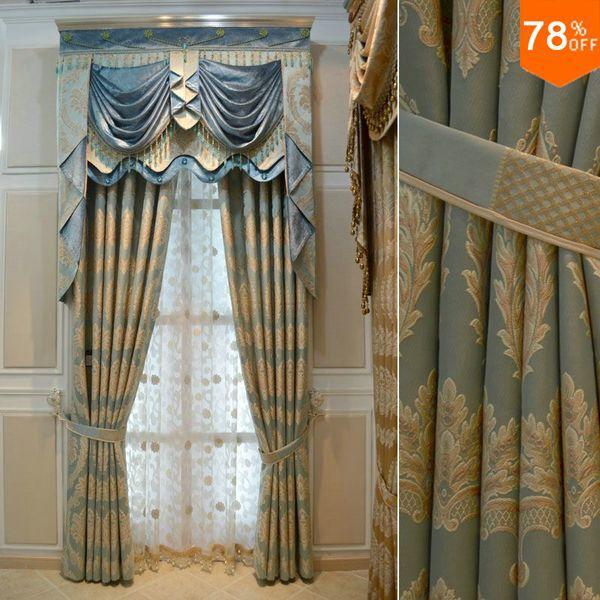Горячие новые лучшие Cashel дом гостиничные занавески для гостиной золото утолщение роскошный синий жаккард занавески из бисера драпировки