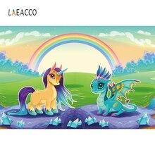 Laeacco Cartoon Unicorn Nightingale Dragon Mermaid Birthday Party Photography Backgrounds Customized Backdrops For Photo Studio