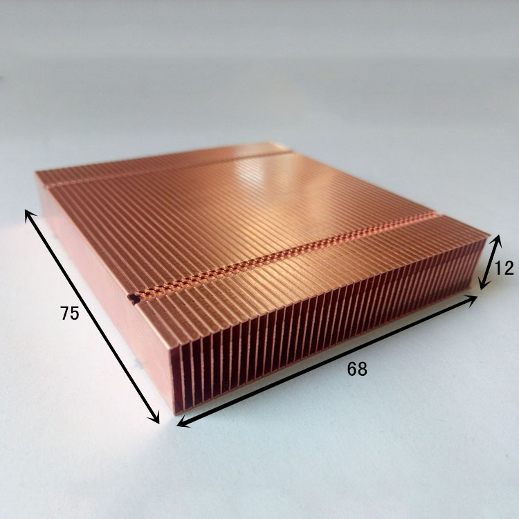 Fast Free Ship Pure Copper Cooling fins finned 68*75*12mm DIY Lengthening or shortening Custom Cooling fin Heatsink 75 29 3 15 2mm pure copper radiator copper cooling fins copper fin can be diy longer heat sink radiactor fin coliing fin