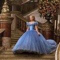 Vestido de noiva 2017 robe de soirée Árabe Azul Royal Com Decote Em V da Luva do Tampão Frisada Puffy Princesa Até O Chão Quinceanera Dresses