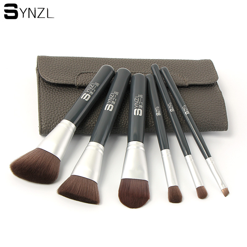 High quality 6pcs makeup brush set grey color face powder blush foundation contour eyeshadow eyebrow cosmetic brushes with case new design stamp seal shape face makeup brush foundation powder blush contour brush cosmetic facial brush cosmetic makeup tool