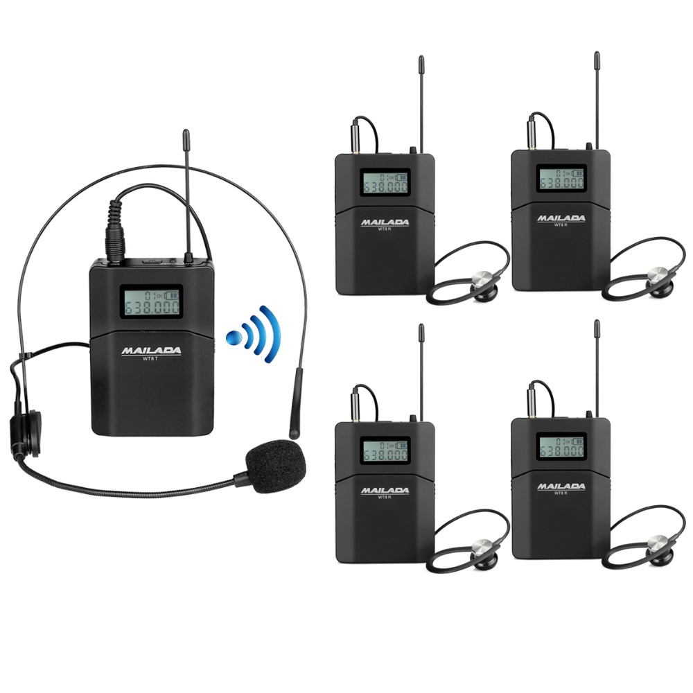 MAILADA WT8 Tour Guide System 1 Transmitter+4 Receiver +Microphone Headset for Teaching Travel Simultaneous Interpretation F1436 blueskysea atg100 wireless tour guide system 1transmitter 15 receivers charger for meeting visiting teaching 195 230mhz portable