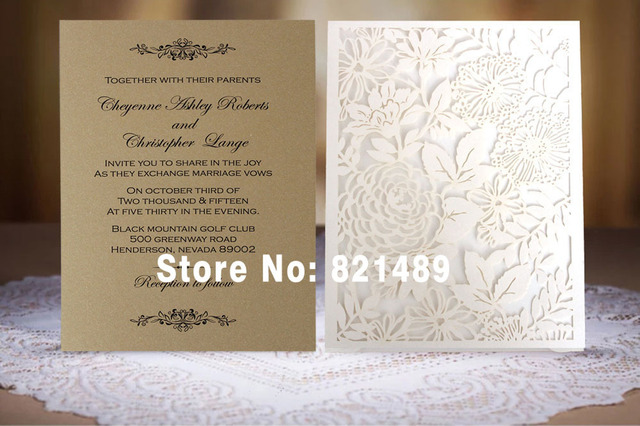 Pure White Pocket Wedding Invitation Card; White and Gold Lace